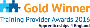 Apprenticeships 4 England Training Provider Gold Winner 2016 Logo
